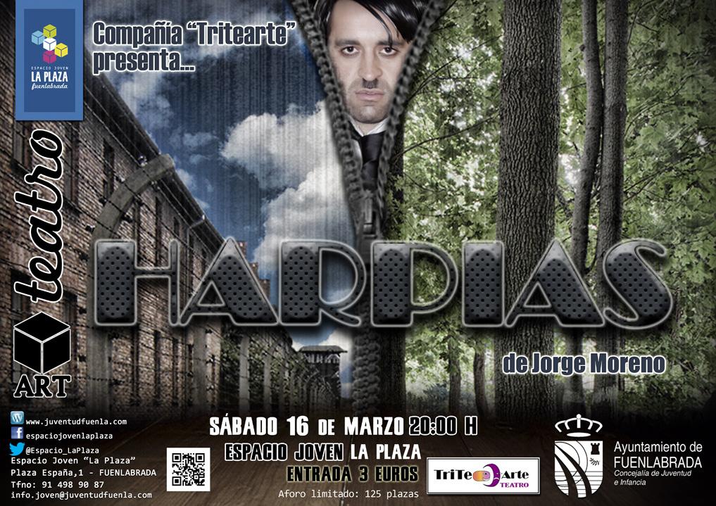 """Teatro en el Espacio Joven """"La Plaza"""": HARPÍAS, por Tritearte Teatro."""