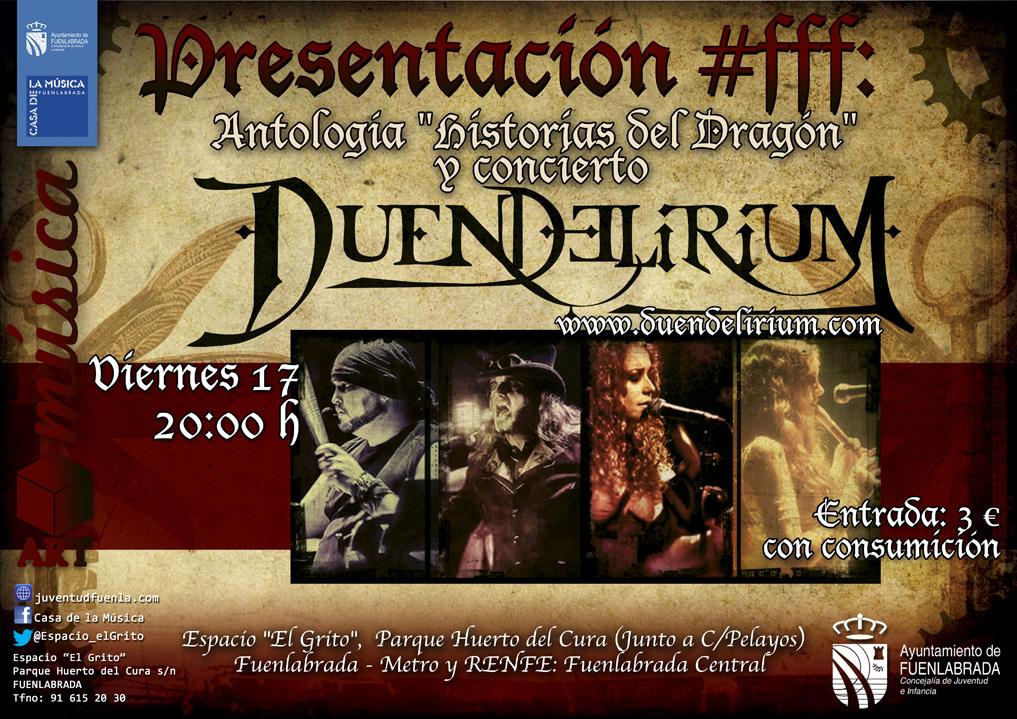 """Presentación #fff: Antología """"Historias del Dragón"""" y concierto de """"Duendelirium"""" en el Espacio """"El Grito"""", Casa de la Música de Fuenlabrada"""