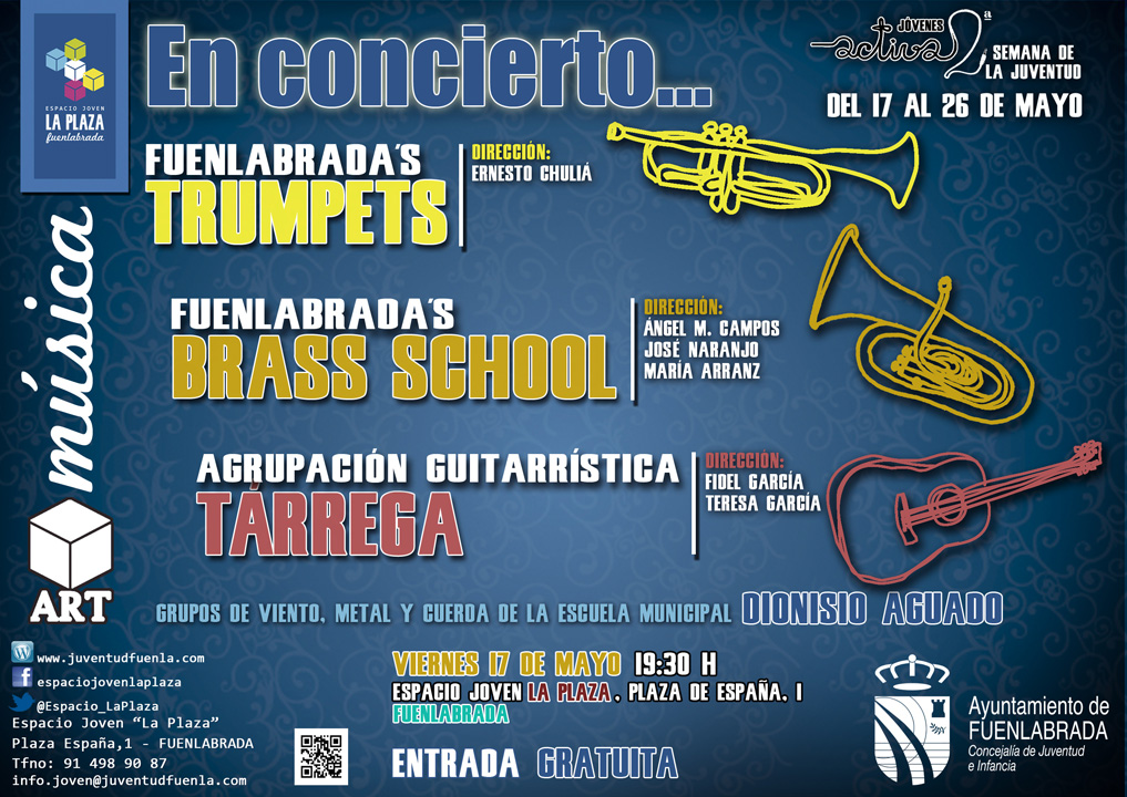 """En concierto los grupos de viento, metal, y cuerda de la Escuela Municipal """"Dionisio Aguado"""", en el Espacio Joven `La Plaza´"""