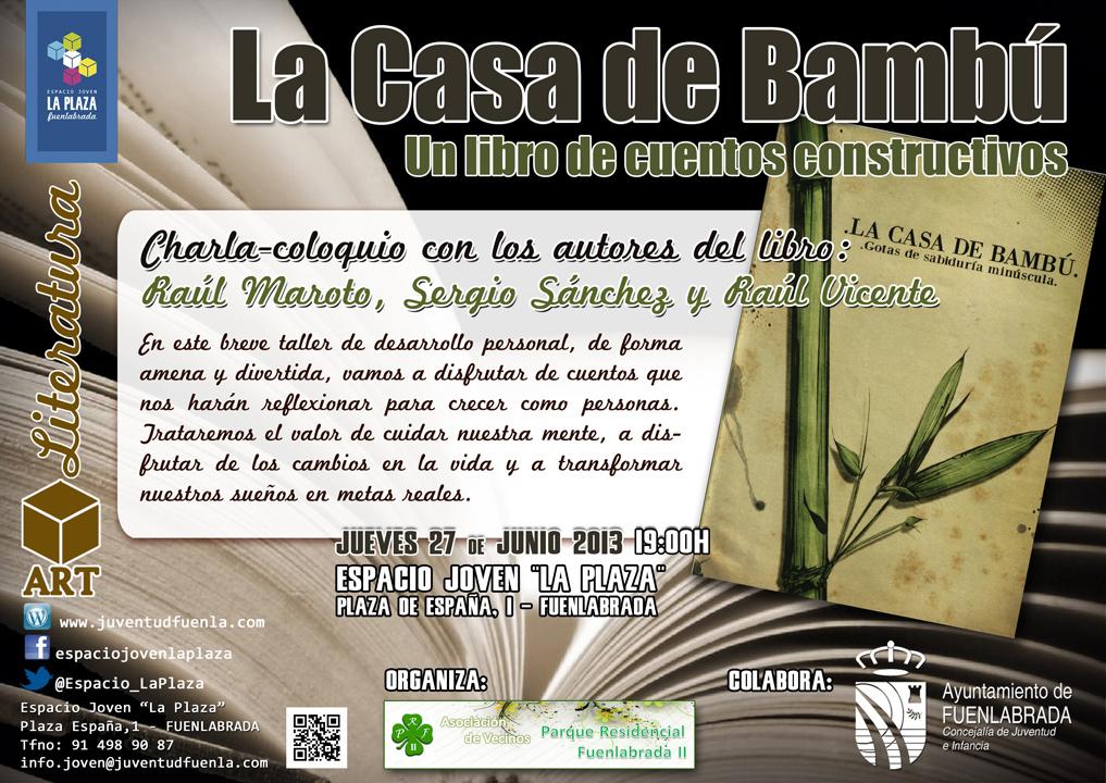 """Charla-coloquicon los autores del libre: """"La casa de bambú"""", en el Espacio Joven `La Plaza´."""