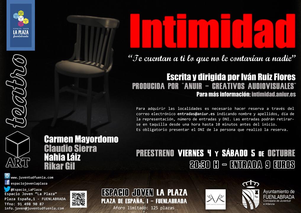 """Preestreno de la obra teatral """"INTIMIDAD"""". Escrita y dirigida por el fuenlabreño Iván Ruiz Flores. En el Espacio Joven """"La Plaza"""""""