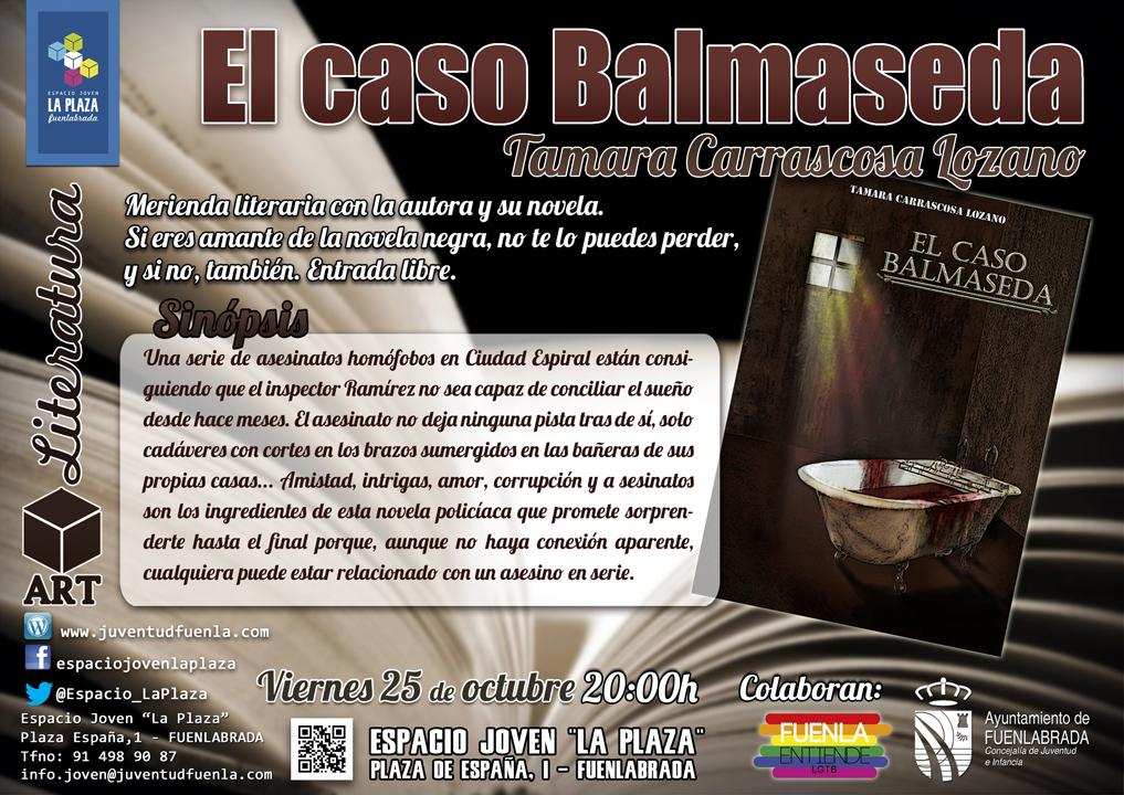 """Merienda literaria con la autora fuenlabreña Tamara Carrascosa Lozano y su novela: """"El caso Balmaseda"""". En el Espacio Joven """"La Plaza"""""""