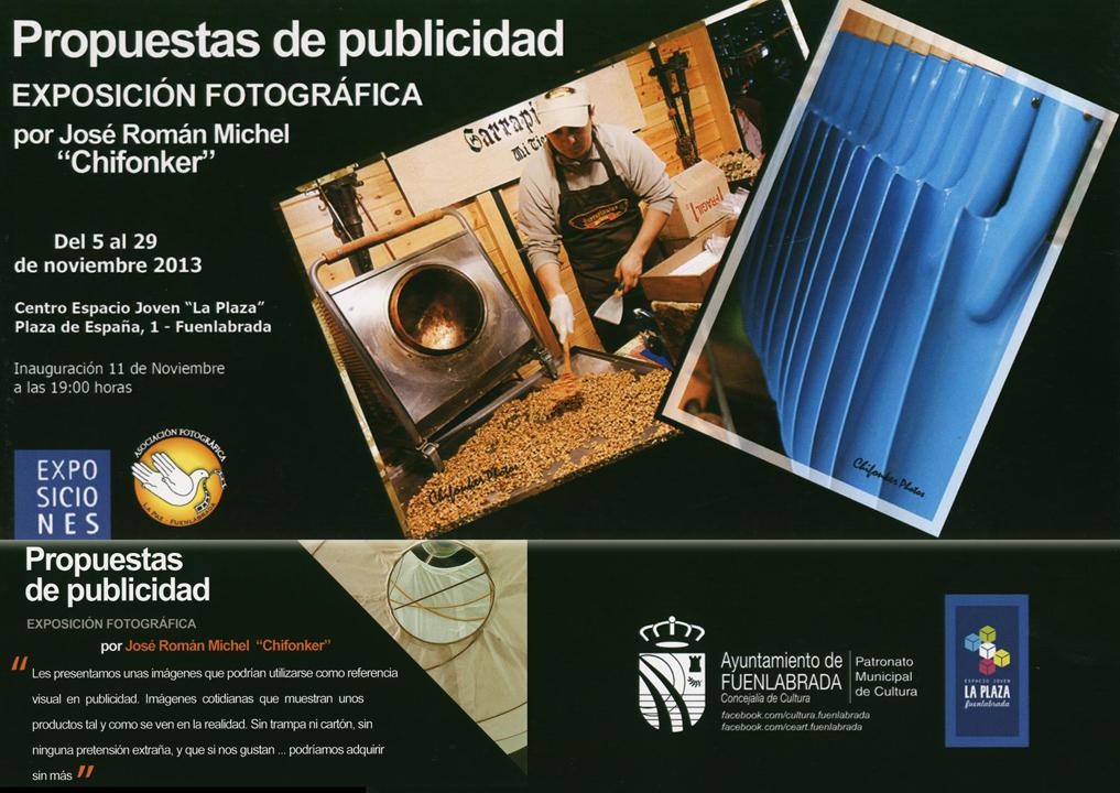 """""""Propuestas de publicidad"""". Exposición fotográfica en el Espacio Joven """"La Plaza"""" del 5 al 29 de noviembre de 2013."""