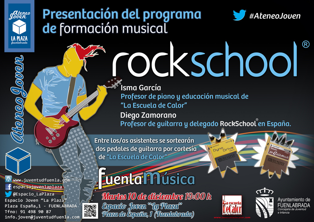 Ateneo Joven presentando el programa de formación musical RockSchool